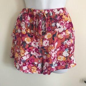 Lily White Drawstring Printed Shorts